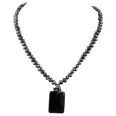 Gray Peacock Cultured Pearl and Black Onyx Pendant Necklace