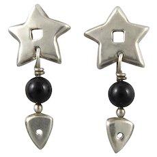 Star with Black Onyx Bead Sterling Silver Dangle Earrings