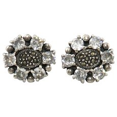 Sterling Silver CZ and Marcasite Flower Earrings