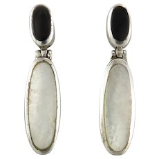 Mother of Pearl and Black Onyx Sterling Silver Door Knocker Style Earrings