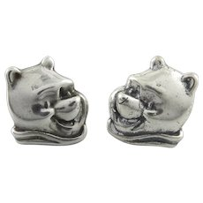 Winnie The Pooh Sterling Silver Earrings Signed Disney