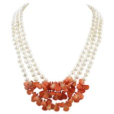 Coral and Freshwater Cultured Pearl 3 Strand Necklace