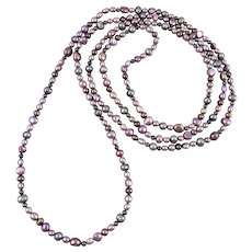 Long Strand Lavender Purple Gray Cultured Pearl Necklace