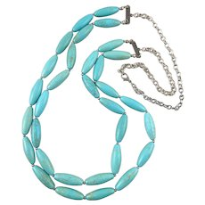 2 Strand Large Turquoise Magnesite Bead long and Chunky Necklace