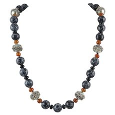 Snowflake Obsidian and Carnelian Bead Long Necklace