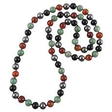 Carnelian Aventurine Onyx Hematite Mixed Bead Necklace