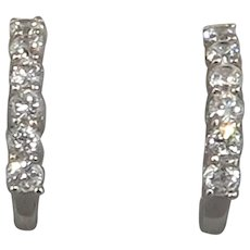 Sterling Silver J Hoop Earrings with Prong Set CZs