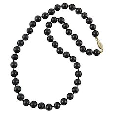 Black Onyx Bead Necklace Sterling Silver Clasp