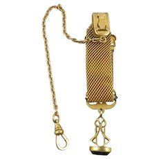 c1910 Mesh Watch Chain and Fob