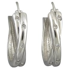 Sterling Silver Gypsy Set CZ Hoop Earrings