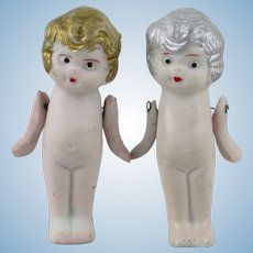"""Set of Cute Bisque Porcelain Silver and Gold New Years Dolls from Japan 3"""""""