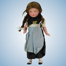"""Blue Eyed Swiss Jointed Celluloid Doll 7"""""""
