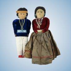 "Handmade Native American Doll Set Man and Woman 11"""