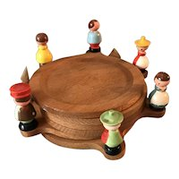 Vintage Mid-Century Wooden Coaster Set w/ Miniature Hand Painted Figures People Alpine Christmas Tree Made in Italy