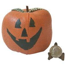 Vintage Style Halloween Linen Canvas Hand Painted OOAK Pumpkin Jack O Lantern