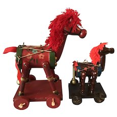 Vintage Lot 2 Russ Berrie Pull Toy Horse Red Wood Painted Christmas Ornaments