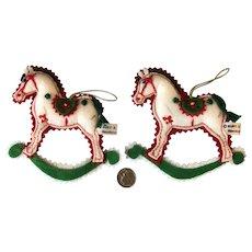 "Lot of 2 Vintage Kurt Adler Rocking Horse Christmas Felt Ornaments 4.5"""