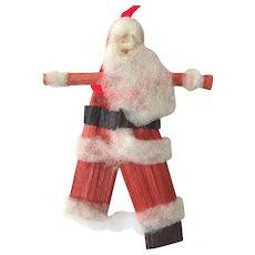 Rare Vintage 1940s Spun Cotton & Crepe Paper Father Christmas Santa Ornament