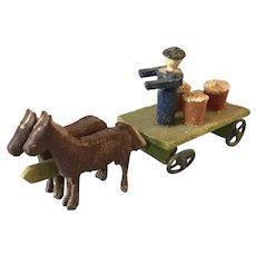 Vintage Erzgebirge Putz Carved Wood Hand Painted Cart w/Man, 2 Horses, Barrels