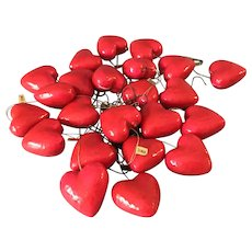 """Vintage Lot 23 Red Paper Mache 1"""" Heart Ornaments Valentines Day Made in Taiwan"""