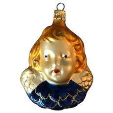 "Vintage Blonde Angel Head Blown Glass Christmas Ornament 3.75"" Czech Republic"
