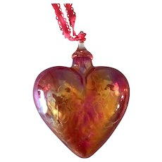 """Art Glass Cast Iridescent Pink Heavy 3"""" Puffy Heart Ornament Valentines Day"""