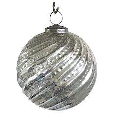 "Jumbo Vintage Style Mercury Glass Silver Ball 5 1/4"" Ribbed Christmas Ornament"