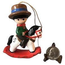 Joan Walsh Anglund Little Boy Rocking Horse Ornament Vintage