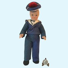 Vintage 1920s French Navy Sailor Doll Celluloid Felt w/Red Pom Liberte Tam 7.75