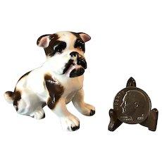 Vintage Miniature Ceramic Bone China Brown + White English Bulldog Dog Figurine