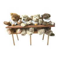Vintage Collectible Handcrafted Artisan 4 Teddy Bear Quads in High Chair w/ Honey Pots