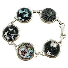 Black Tree Silhouette Blue Ivy Flowers Artisan Silver Glass Cabochon Bracelet