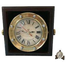 Authentic Models 'Navigare Necesse Est' Mermaid Glass Nautical Rotating Clock