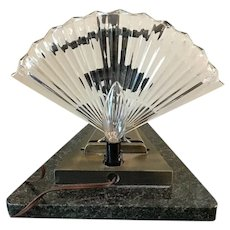 Vintage Art Deco Nude Dancing Woman Figural Fan Glass Bronze Granite Tabletop Lamp