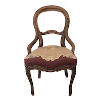1920s Antique Swedish Parlor Chair With Mauve Botanical Needlepoint Seat Cushion