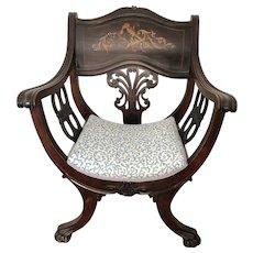 1880s Antique French Carved Renaissance Dagobert Walnut Wooden Arm Chair