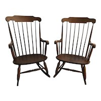 Nichols & Stone Walnut Wood Rocking Chairs 1963 Model 73-6 - a Pair