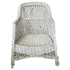 Vintage 1940s White Wicker Lounge Arm Chair
