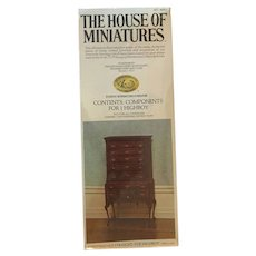 NEW House of Miniatures Kit #40022 One Chippendale Straight Top Highboy Sealed