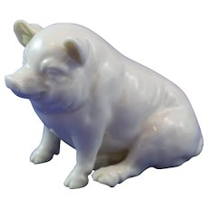 Belleek 3rd Period (1926/1946)  Large Black Mark Pig. Lovely Smile!!