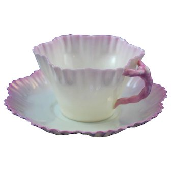Belleek 2nd Period(1892/1926)  Hexagon Cup and Saucer - Pink