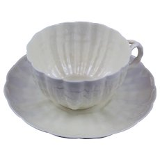 Belleek 2nd Period Tridacna Cup & Saucer Mint
