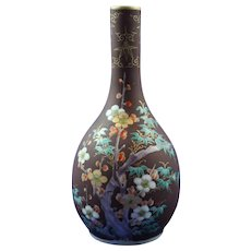Lovely Meiji Period (1868/1912) Japanese Bud Vase with Hand Painted and Enamel Detail