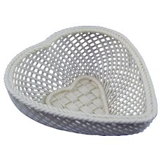 Belleek Heart Basket in Great Condition Circa 1921/54
