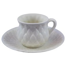 Rare Belleek (1863/1891) 1st Period Custard Cup and Saucer in Mint Condition