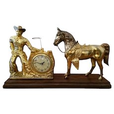 Cowboy Lasso clock with horse