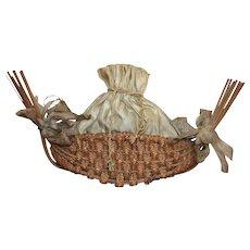 Antique Regency/Early Victorian Straw Work Bag/Sewing Basket