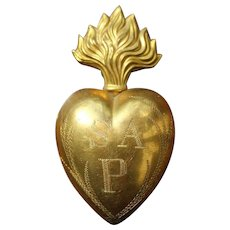 Antique French Ex-Voto Reliquary Heart, 19th Century