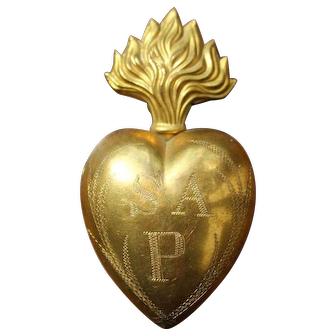 Antique French Ex-Voto Reliquary Heart, 19th Century
