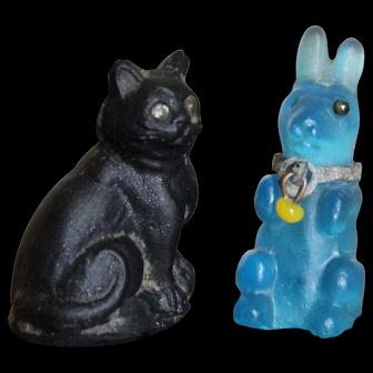 Czech Glass Rabbit and Black Cat